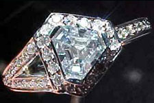 SOLD....Ring: GIA .37ct Triangular Asscher Light Blue Diamond Halo Ring R1888