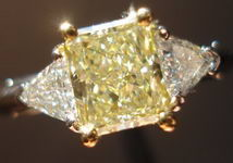 SOLD.... Three Stone Diamond Ring: GIA1.16ct Yellow Radiant Diamond Trilliant Platinum Ring R1545