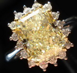 SOLD....Micro Set Halo Ring: 2.97ct W-X Yellow GIA Diamond Micro Set Ring R1109