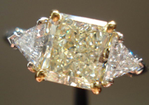 SOLD.....Three Stone Diamond Ring: 2.04carat S-T Faint Yellow Radiant Trilliants GIA  R1945
