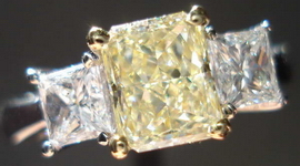 SOLD....Three Stone Diamond Ring 1.08 Light Yellow VVS2 Radiant Diamond GIA Princess Cut Sides R1720