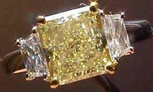 SOLD....Three Stone Diamond Ring: 1.83 Light Yellow w Trapezoid Side Diamonds GIA TRADE UP SPECIAL R2073