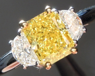 Three Stone Ring: Vivid Yellow Radiant GIA with Half Moons R1711