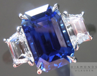 SOLD....Three Stone Ring: Natural Gem Quality Sapphire with Colorless Trapezoid Diamonds R2133