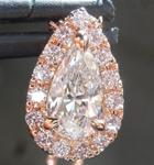 Colorless Diamond Pendant: .53ct D VVS1 Pear Shape Diamond Halo Pendant GIA R4954