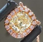 SOLD.....Diamond Pendant: .38ct Fancy Light Yellow VVS1 Cushion Cut Diamond Halo Pendant GIA R5470
