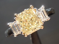 Yellow Diamond Ring: 1.51ct Fancy Light Yellow SI1 Radiant Cut Diamond Ring GIA R1519