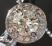 SOLD...Diamond Necklace: 1.29ct O-P I1 Round Brilliant Diamond Halo Pendant R1674