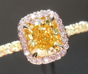 1.01ct Fancy Vivid Yellow VS2 Cushion Cut Diamond Ring GIA R1709