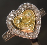 Diamond Halo Ring: 1.28ct Fancy Light Yellow Heart Shape Diamond GIA R3108