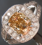 Brown Diamond Ring: 1.53ct Fancy Brown-Yellow VS1 Cushion Cut Diamond Halo Ring GIA R3241