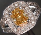 Diamond Ring: 1.03ct Fancy Deep Brownish Orangy Yellow Cushion Cut Diamond Ring GIA R3338