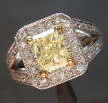 1.06ct Fancy Light Yellow VS2 Radiant Platinum Halo Split Shank Ring R3365