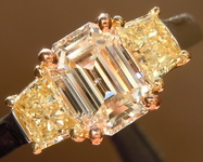 Three Stone Diamond Ring: 1.10ct K Emerald Cut SI2 GIA Fancy Intense Yellow Side Stones R3513