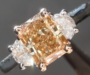 Three Stone Diamond Ring: 1.53ct Fancy Brown-Yellow I1 Radiant Cut Diamond Ring GIA R3759