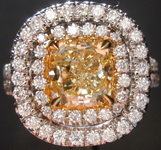 Yellow Diamond Ring: 1.34ct Fancy Yellow SI1 Cushion Cut Diamond Halo Ring GIA R4014