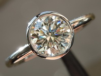Diamond Ring: .90ct Round Brilliant K/VS2 GIA Triple EX Bezel Set Ring R4308