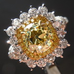 1.59ct Fancy Intense Yellow VVS1 Old Mine Brilliant Diamond Ring GIA R4330