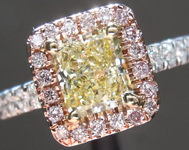 0.92ct Fancy Yellow SI2 Radiant Cut Diamond Ring R4518