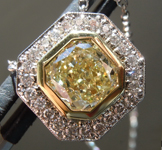 Yellow Diamond Pendant: 1.66ct Fancy Light Yellow VS1 Cushion Cut Diamond Halo Pendant GIA R4752