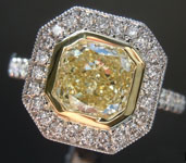 SOLD....1.66ct Light Yellow VS1 Cushion Cut Diamond Ring R4752