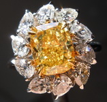 2.13ct Fancy Vivid Yellow VS1 Cushion Cut Diamond Ring GIA R4930