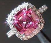 Sapphire Ring: 1.79ct Purple Pink Asscher Cut Sapphire and Diamond Ring R5029