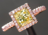 Diamond Ring: .78ct Fancy Intense Green-Yellow Radiant Cut Diamond Ring GIA R5085
