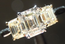 Diamond Ring: .94ct G SI1 Emerald Cut Three Stone Diamond Ring GIA R5122