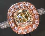 0.86ct Brownish Greenish Yellow VVS2 Old Mine Brilliant Diamond Ring R5168
