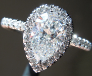 Diamond Ring: 1.02ct E SI2 Pear Brilliant Diamond Halo Ring GIA R5305