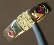 Yellow Diamond Ring: .43ct Fancy Yellow SI2 Radiant Cut Diamond and Ruby Ring GIA R5467
