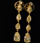 SOLD...4.85ct Natural Yellow Pear Shape Diamond Earrings R5487