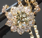 Yellow Diamond Pendant: .39ct Y-Z VS2 Round Brilliant Diamond Halo Necklace GIA R5573