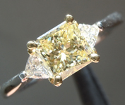 Yellow Diamond Ring: 1.00ct Fancy Light Yellow VS2 Radiant Cut Three Stone Diamond Ring GIA R5584