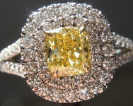 Yellow Diamond Ring: .74ct Fancy Vivid Yellow SI1 Cushion Modified Brilliant Diamond Halo Ring GIA R5667