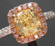 SOLD....1.41ct Yellow VS2 Cushion Cut Diamond Ring R5672