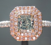 .71ct Fancy Green VS1 Radiant Cut Diamond Ring GIA  R5928
