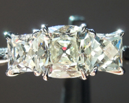 Diamond Ring: .80ct L SI1 Old Mine Brilliant Diamond Three Stone Ring GIA R5959