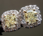 1.11cts Light Yellow Cushion Cut Diamond Earrings R6015