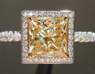 Yellow Diamond: 1.51ct Y-Z SI2 Princess Cut Diamond Halo Ring GIA R6056
