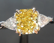 1.20ct Fancy Vivid Yellow VS2 Radiant Cut Diamond Ring GIA R6059