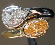 0.95ctw Orange and Colorless Diamond Ring R6065