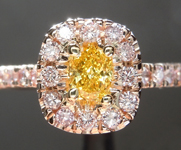 .30ct Vivid Orangy Yellow VS1 Cushion Cut Diamond Ring R6077