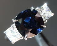 SOLD........Sapphire Ring: 3.27ct Blue Cushion Cut Sapphire and Diamond Ring R6188