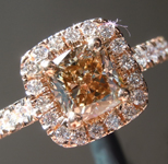 Brown Diamond Ring: 1.02ct Fancy Light Yellow Brown SI1 Cushion Cut Diamond Halo Ring R6198