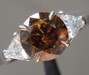 Brown Diamond Ring: 1.32ct Natural Brown I1 Round Brilliant Three Stone Diamond Ring R6200