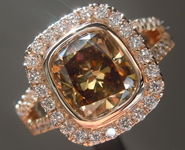 2.04ct Brown I1 Cushion Cut Diamond Ring R6208