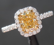Yellow Diamond Ring: .76ct Fancy Yellow VVS2 Cushion Cut Diamond Halo Ring GIA R6230
