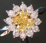 Diamond Ring: 1.13ct Fancy Intense Yellow SI1 Cushion Modified Brilliant Pink Lemonade™ Diamond Ring GIA R6328